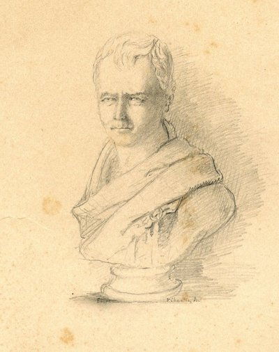 [Portraits]; [Pencil drawing by an unknown artist from a bust of Sir Walter Scott by Sir F. L. Chantrey]