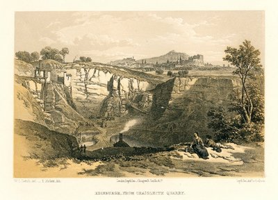 Image from object titled Lithograph of Edinburgh from Craigleith Quarry by T. Picken after W. L. Leitch; [Homes and Haunts]; Edinburgh: From Craigleith Quarry