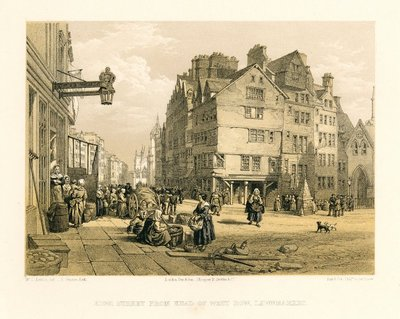Lithograph of High Street, Edinburgh by T. Picken after W. L. Leitch; Provincial Antiquities and Picturesque Scenery of Scotland; High Street: From Head of West Bow, Lawnmarket