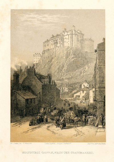 Lithograph of Edinburgh Castle from the Grassmarket by T. Picken after W. L. Leitch; Description of the Regalia of Scotland; Waverley; or 'Tis Sixty Years Since; Heart of Mid-Lothian, The; Provincial Antiquities and...