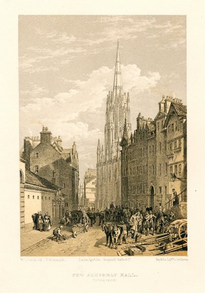 Lithograph of the Assembly Hall, Edinburgh by T. Picken after W. L. Leitch; [Homes and Haunts]; New Assembly Hall, Edinburgh