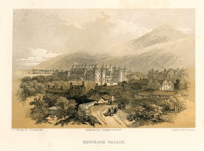 Lithograph of the Palace of Holyroodhouse by T. Picken after J. D. Harding; Waverley; or 'Tis Sixty Years Since; Provincial Antiquities and Picturesque Scenery of Scotland; Tales of a Grandfather; being Stories taken from...