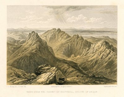Lithograph of Goatfell on the Isle of Arran by T. Picken after J. D. Harding; Lord of the Isles, The; Heart of Mid-Lothian, The; View From the Summit of Goatfell, Island of Arran