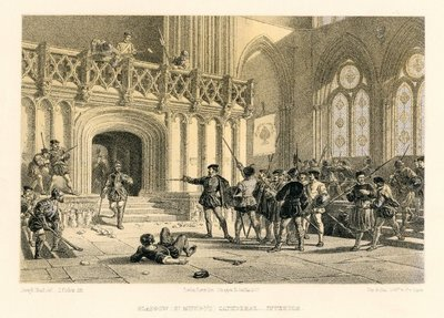 Lithograph of a scene inside Glasgow Cathedral by T. Picken after J. Nash; Rob Roy; Glasgow (St. Mungo's) Cathedral: Interior