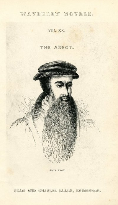 Engraved title page and frontispiece of Scott's The Abbot; Abbot, The; John Knox