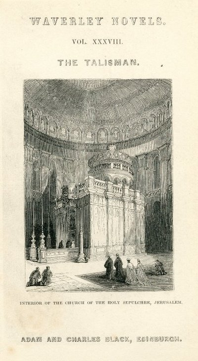 Engraved title page and frontispiece of Scott's The Talisman; Talisman, The; Interior of the Church of the Holy Sepulchre, Jerusalem