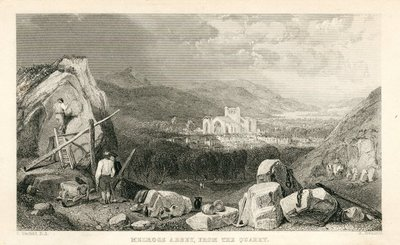 Engraving of Melrose Abbey by R. Brandard after C. Stanfield; Monastery, The; Melrose Abbey: From the Quarry