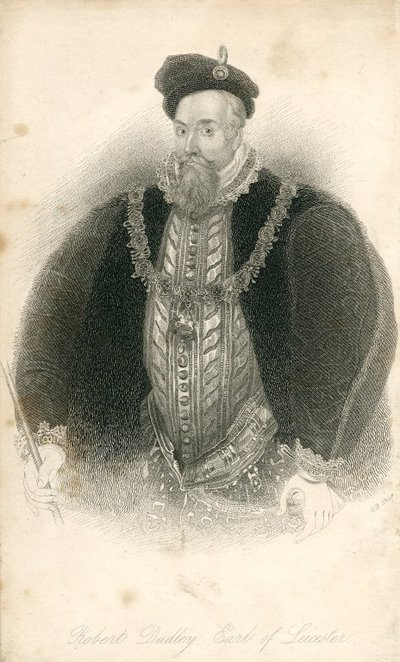 Engraving of Robert Dudley, Earl of Leicester by G. B. Shaw after W. Lodge; Kenilworth; Robert Dudley, Earl of Leicester