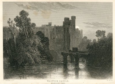 Engraving of Warwick Castle by W. Miller after C. Stanfield; Kenilworth; Warwick Castle: Moonlight View
