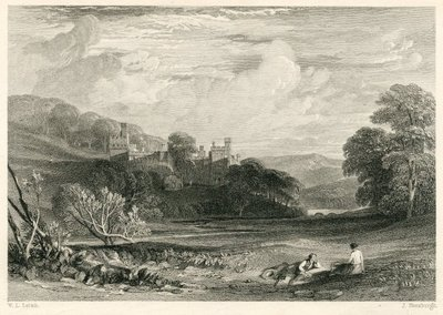 Peveril of the Peak; [Engraving of Haddon Hall by J. Horsburgh after W. L. Leitch]