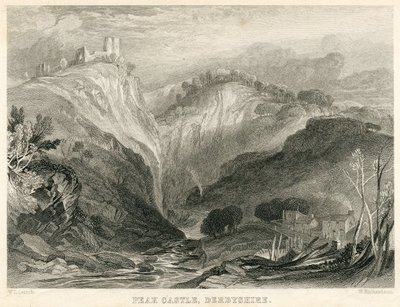 Engraving of Peveril Castle by W. Richardson after W. L. Leitch; Peveril of the Peak; Peak Castle, Derbyshire
