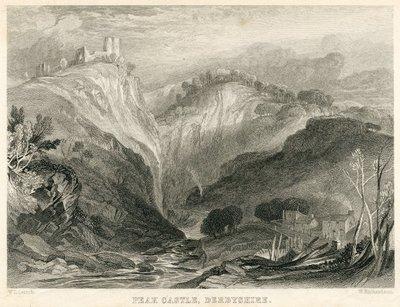 Engraving of Peveril Castle by W. Richardson after W. L. Leitch; Peveril of the Peak; Peak Castle, Derbyshire