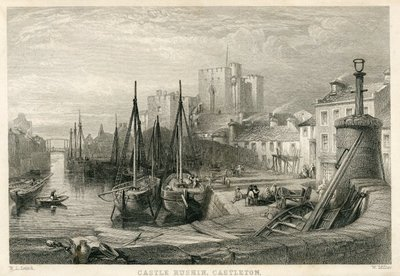 Engraving of Castle Rushen by W. Miller after W. L. Leitch; Peveril of the Peak; Castle Rushin, Castleton