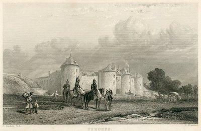 Engraving of Péronne by R. Brandard after C. Stanfield; Quentin Durward; Péronne