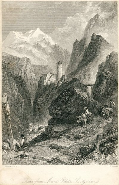 Engraving of Mount Pilatus by J. Cousen after C. Stanfield; Anne of Geierstein; Scene From Mount Pilate, Switzerland