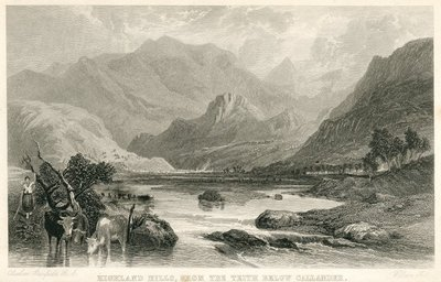 Engraving of the Highland Hills, near Callander by W. Miller after C. Stanfield; Waverley; or 'Tis Sixty Years Since; Highland Hills, From the Teith Below Callander
