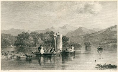 Guy Mannering, or The Astrologer; [Engraving of boats on Lake Windermere by E. Goodall after C. Stanfield]