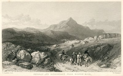 Engraving of Skiddaw and Saddleback by R. Brandard after C. Stanfield; Guy Mannering, or The Astrologer; Skiddaw and Saddleback: From Bolton Moor.