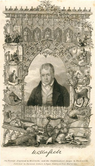 Engraved portrait of Walter Scott by T. Woolnoth after A. Geddes, with ornamental frieze by J. Hawkesworth; [Portraits]; The Portrait Engraved by Woolnoth and the Emblematical Design by Hawksworth