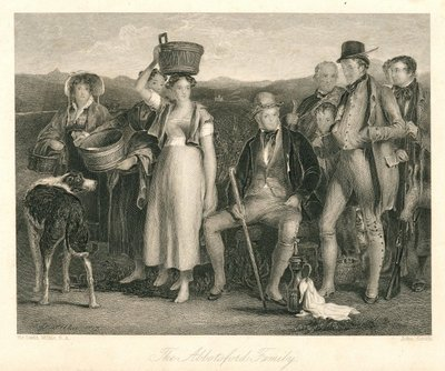 Engraving of Walter Scott with family and friends by J. Smith after D. Willkie; [Portraits]; The Abbotsford Family