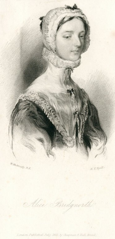 Engraved portrait by H.T. Ryall after W. Mulready of the heroine of Scott's novel Peveril of the Peak; Peveril of the Peak; Alice Bridgnorth