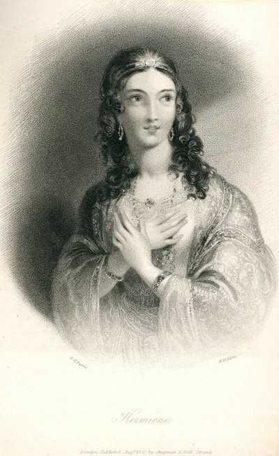 Engraved portrait by W.H. Mote after E.T. Parris of a character from Scott's novel Anne of Geierstein; Anne of Geierstein; Hermione