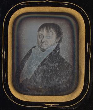 Image 9 x 7 cm; Cadre 23 x 21 cm; Passe partout 13,7 x 11,5 cm; Portrait d'un homme