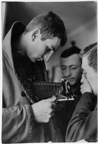 Image from object titled Krzysztof Kieślowski with a camera during photography classes (373/1/0/3.3/21/4)