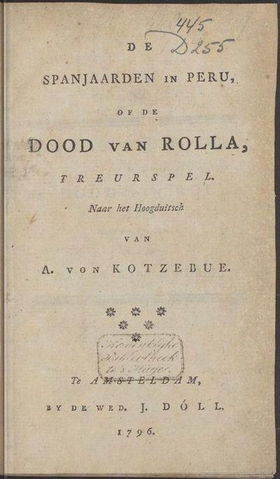Image from object titled De Spanjaarden in Peru, of De dood van Rolla, treurspel.