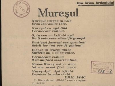 Image from object titled Mureșul; Din lirica Ardealului