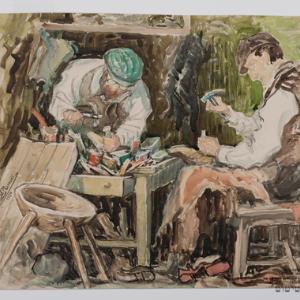 Żydowscy szewcy przy pracy