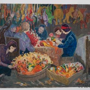 Rodzina żydowska robiąca zabawki