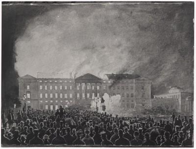 Forlæg til litografi af Christiansborgs brand 1884