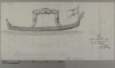 Tegning af en chalup et let roende fartøj, hvor der kan Sidde 4 personer
