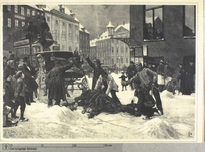En snevejrsdag med politi og hest