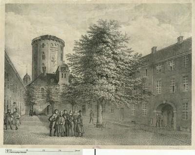 Regensgården med Rundetårn i baggrunden, 1837