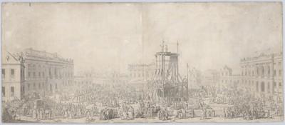 Rytterstatuen på Amalienborg Slotsplads opstilles