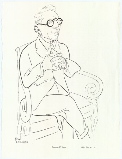Portræt af den danske digter Johannes V. Jensen