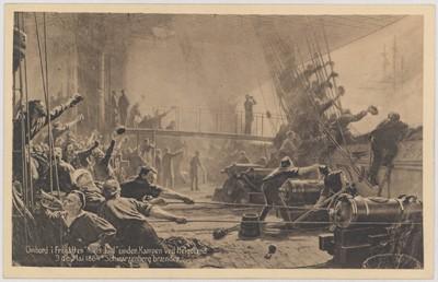 """Ombord i Fregatten """"Niels Juel"""" under Kampen ved Helgoland 9de Mai 1864 """"Schwarzenberg brænder"""""""