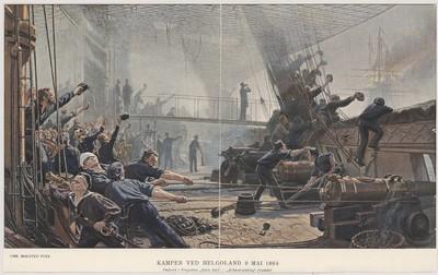 """Kampen ved Helgoland 9 Mai 1864 Omborg i fregatten """"Niels Juel – Schwarzenberg"""" brænder."""