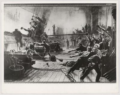 """Kampen ved Helgoland 9 Mai 1864 Omborg i fregatten """"Niels Juel – Schwarzenberg"""" brænder"""