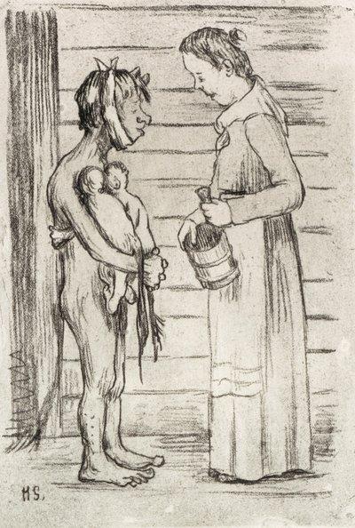 Image from object titled Gumman och fattig fan med tvillingar; Emäntä ja piruparka kaksosineen