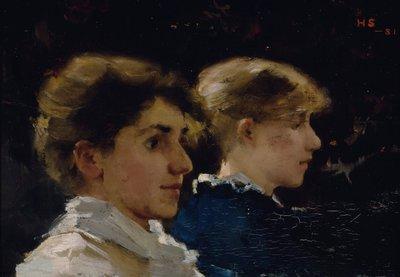 Image from object titled Kaksi naisprofiilia (etualalla Marianne Preindelsberger)