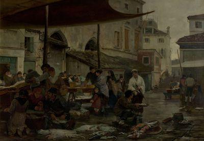 "Image from object titled painting (oil): [""La Pescheria, Venezia""] aka [""The Fish-market, Venice""]"