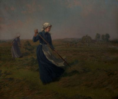 "Image from object titled painting (oil): [""Girl Haymaking""]"