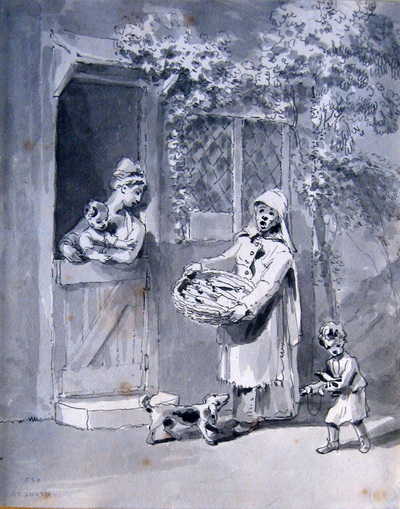 """Image from object titled drawing (pen and ink wash): [""""The Fish Seller""""]"""
