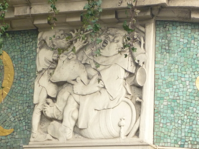 Stone carving on the exterior of the Black Friar public house, Queen Victoria Street, London