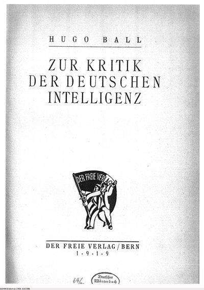Image from object titled Zur Kritik der deutschen Intelligenz