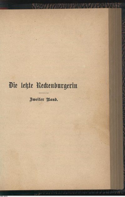 Image from object titled Die letzte Reckenburgerin; Roman; Zweiter Band