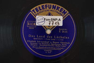 Image from object titled Das Land des Lächelns / Auswahl